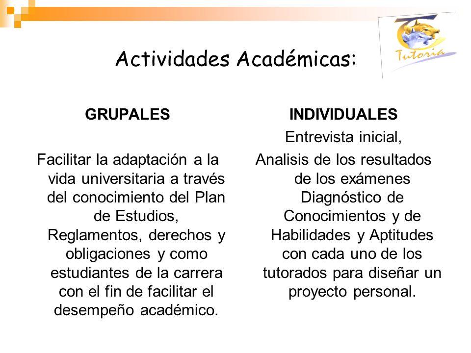 Actividades Académicas: GRUPALES Facilitar la adaptación a la vida universitaria a través del conocimiento del Plan de Estudios, Reglamentos, derechos