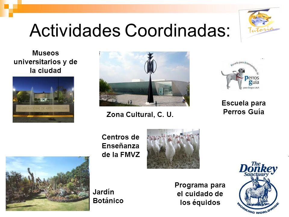 Museos universitarios y de la ciudad Escuela para Perros Guía Jardín Botánico Actividades Coordinadas: Zona Cultural, C. U. Programa para el cuidado d
