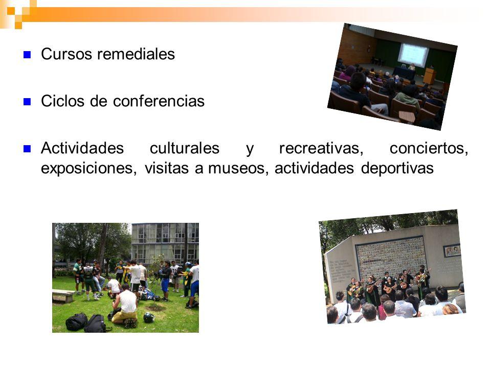 Cursos remediales Ciclos de conferencias Actividades culturales y recreativas, conciertos, exposiciones, visitas a museos, actividades deportivas