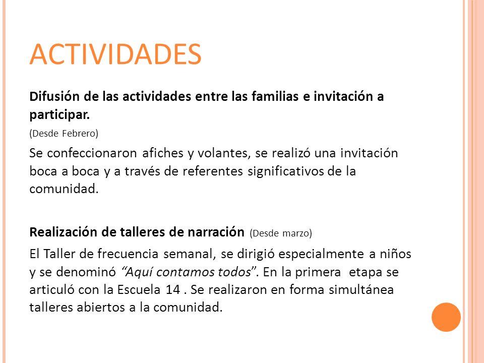 ACTIVIDADES Difusión de las actividades entre las familias e invitación a participar.