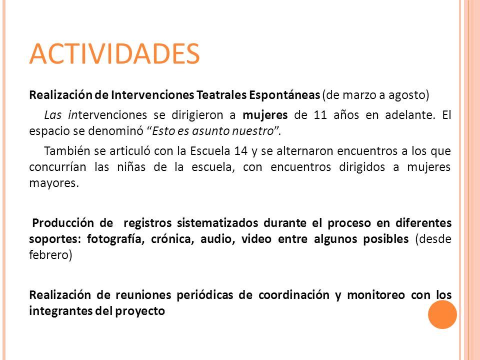 ACTIVIDADES Realización de Intervenciones Teatrales Espontáneas (de marzo a agosto) Las intervenciones se dirigieron a mujeres de 11 años en adelante.