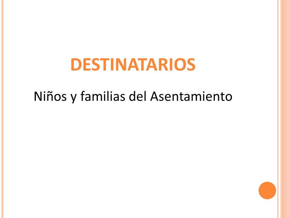 DESTINATARIOS Niños y familias del Asentamiento