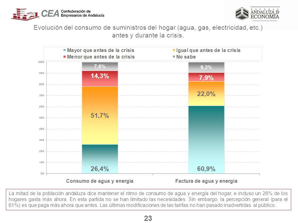 Evolución del consumo de suministros del hogar (agua, gas, electricidad, etc.) antes y durante la crisis.