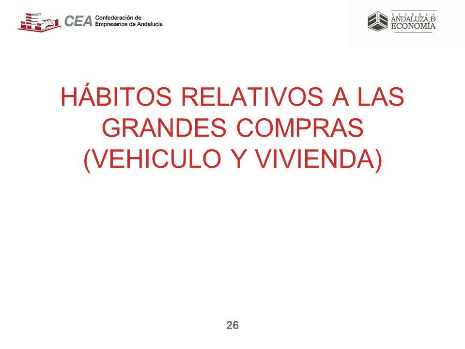 HÁBITOS RELATIVOS A LAS GRANDES COMPRAS (VEHICULO Y VIVIENDA) 26