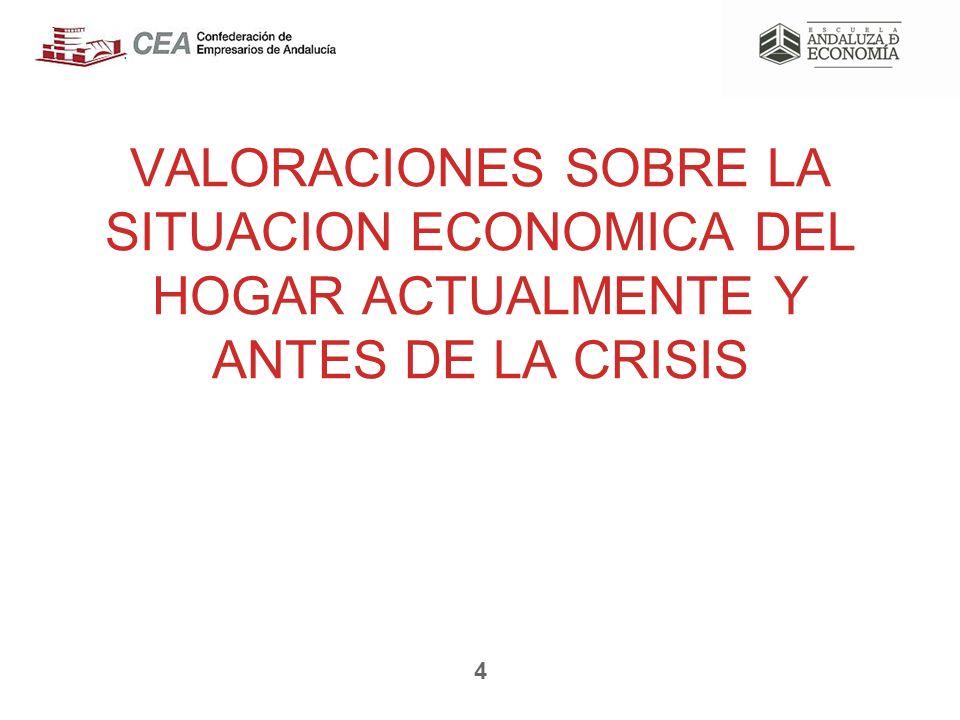 VALORACIONES SOBRE LA SITUACION ECONOMICA DEL HOGAR ACTUALMENTE Y ANTES DE LA CRISIS 4