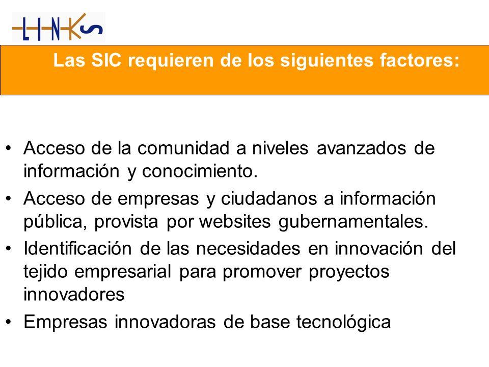 Las SIC requieren de los siguientes factores: Acceso de la comunidad a niveles avanzados de información y conocimiento. Acceso de empresas y ciudadano