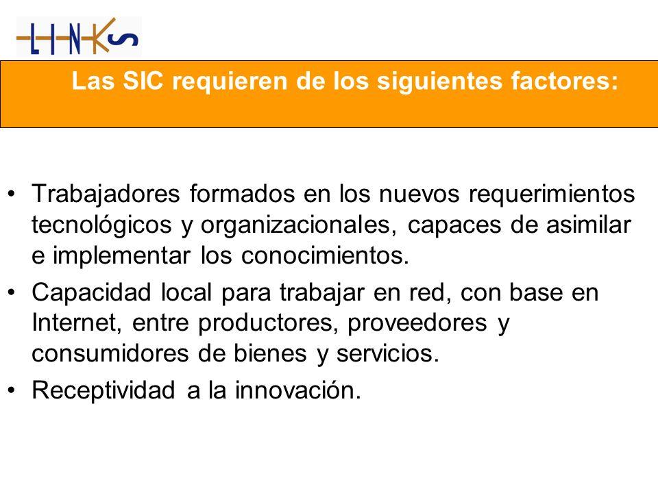 Las SIC requieren de los siguientes factores: Trabajadores formados en los nuevos requerimientos tecnológicos y organizacionales, capaces de asimilar e implementar los conocimientos.