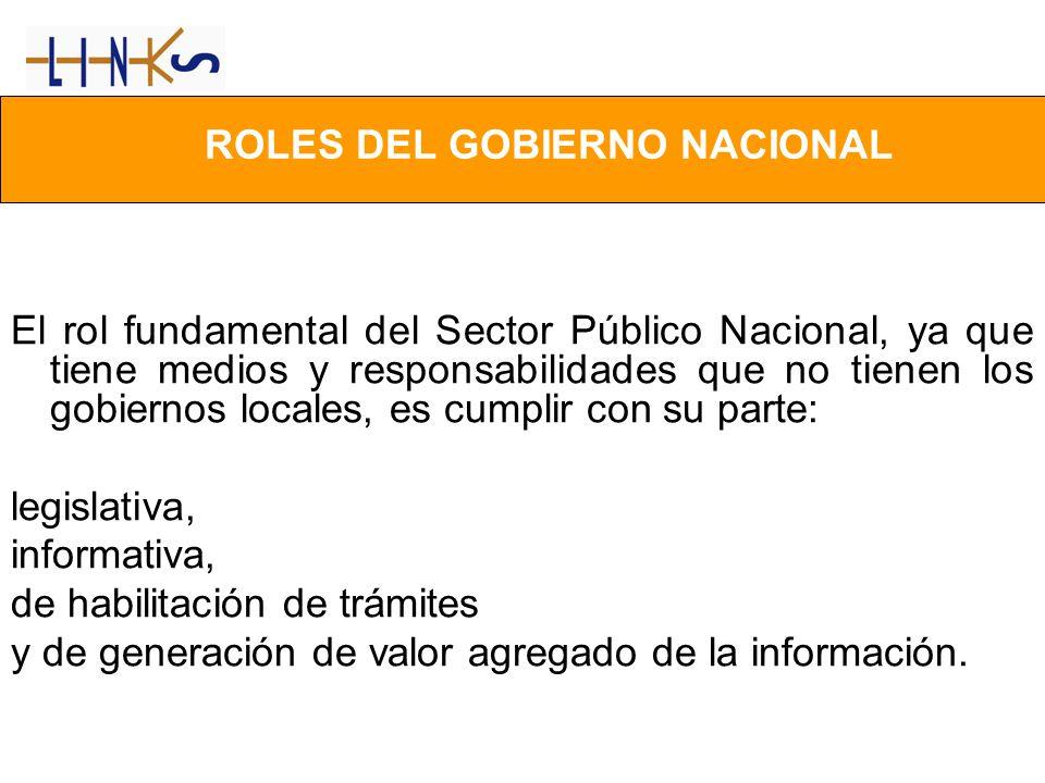 ROLES DEL GOBIERNO NACIONAL El rol fundamental del Sector Público Nacional, ya que tiene medios y responsabilidades que no tienen los gobiernos locale