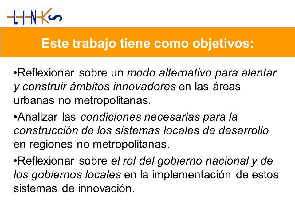 Reflexionar sobre un modo alternativo para alentar y construir ámbitos innovadores en las áreas urbanas no metropolitanas. Analizar las condiciones ne