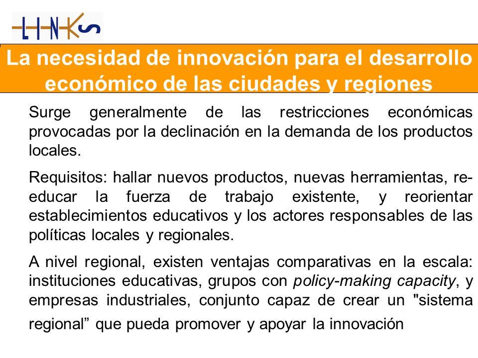 La necesidad de innovación para el desarrollo económico de las ciudades y regiones Surge generalmente de las restricciones económicas provocadas por la declinación en la demanda de los productos locales.