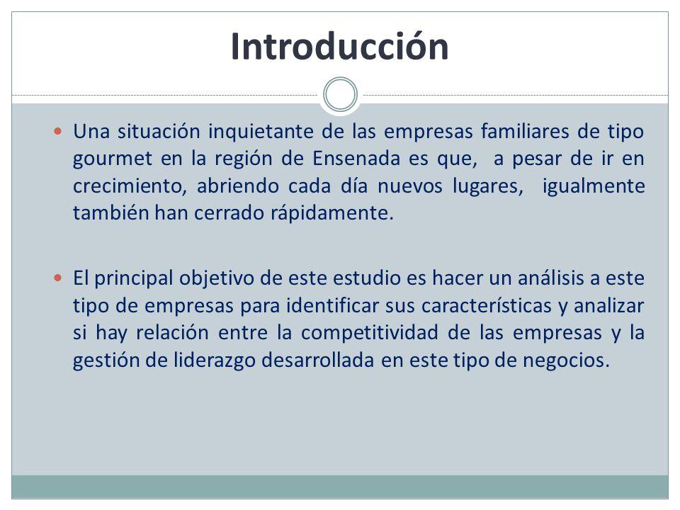 Introducción Una situación inquietante de las empresas familiares de tipo gourmet en la región de Ensenada es que, a pesar de ir en crecimiento, abrie
