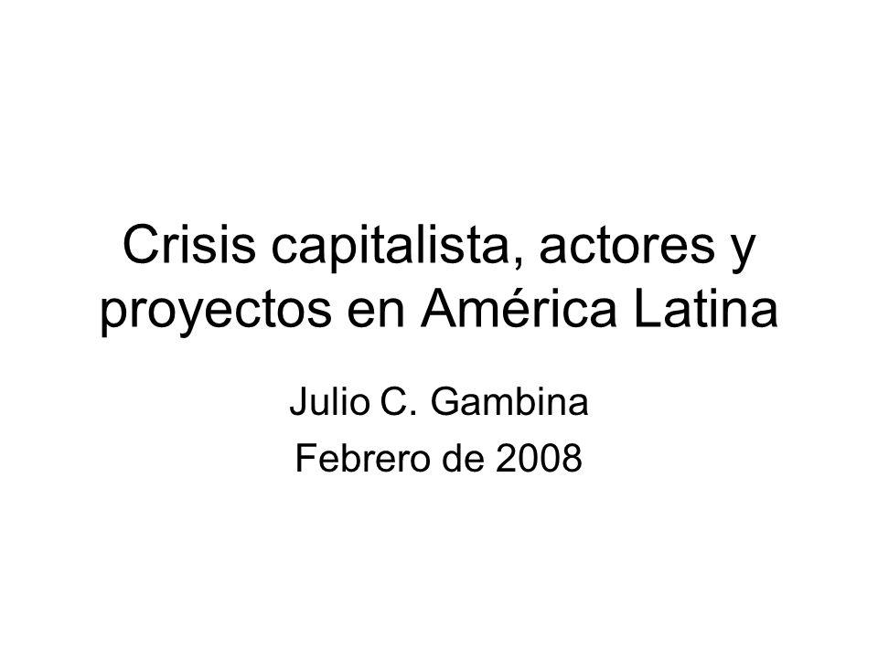 Crisis capitalista, actores y proyectos en América Latina Julio C. Gambina Febrero de 2008
