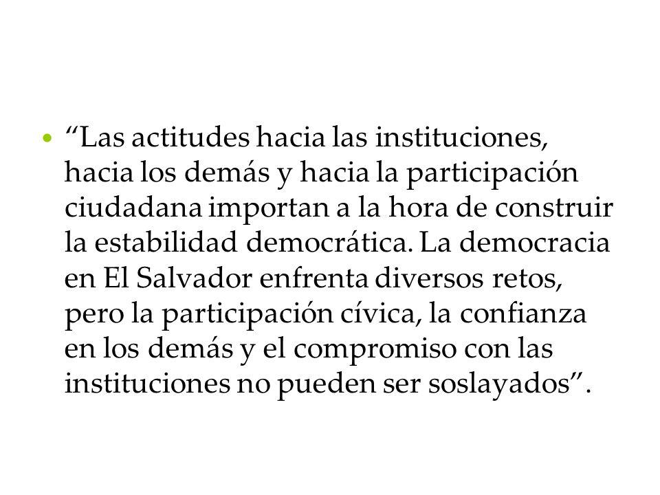 Las actitudes hacia las instituciones, hacia los demás y hacia la participación ciudadana importan a la hora de construir la estabilidad democrática.