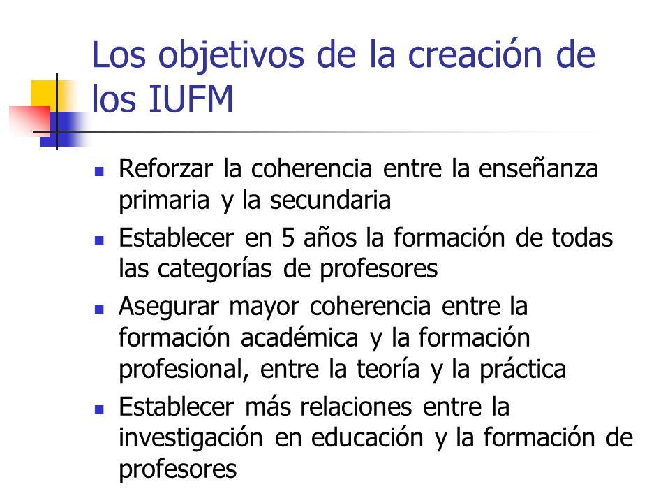Los objetivos de la creación de los IUFM Reforzar la coherencia entre la enseñanza primaria y la secundaria Establecer en 5 años la formación de todas las categorías de profesores Asegurar mayor coherencia entre la formación académica y la formación profesional, entre la teoría y la práctica Establecer más relaciones entre la investigación en educación y la formación de profesores