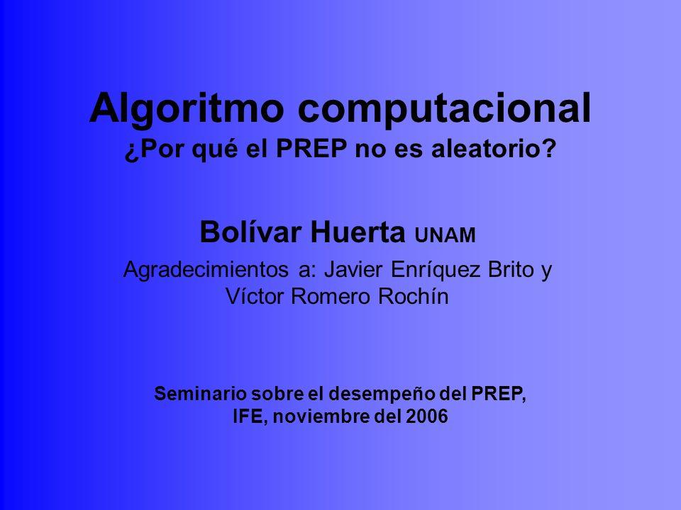 Algoritmo computacional ¿Por qué el PREP no es aleatorio? Bolívar Huerta UNAM Agradecimientos a: Javier Enríquez Brito y Víctor Romero Rochín Seminari
