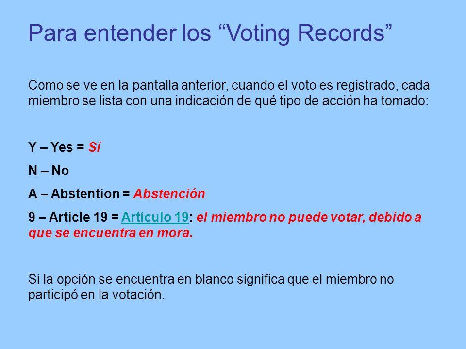 Para entender los Voting Records Como se ve en la pantalla anterior, cuando el voto es registrado, cada miembro se lista con una indicación de qué tip