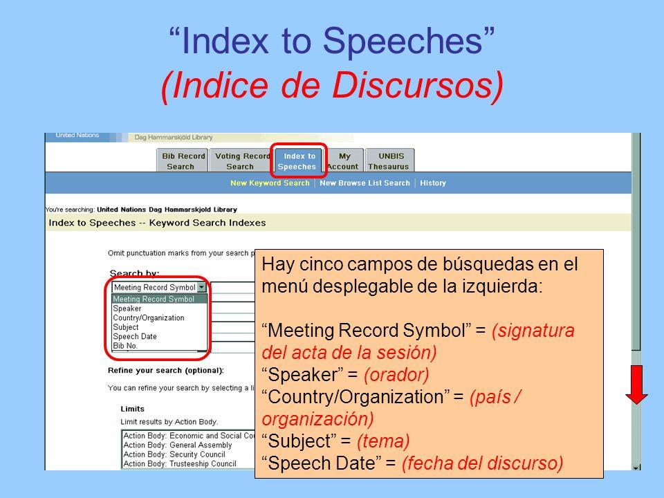 Index to Speeches (Indice de Discursos) Hay cinco campos de búsquedas en el menú desplegable de la izquierda: Meeting Record Symbol = (signatura del a