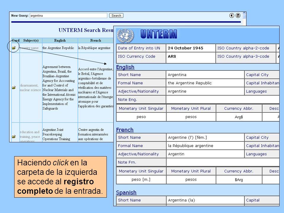Haciendo click en la carpeta de la izquierda se accede al registro completo de la entrada.