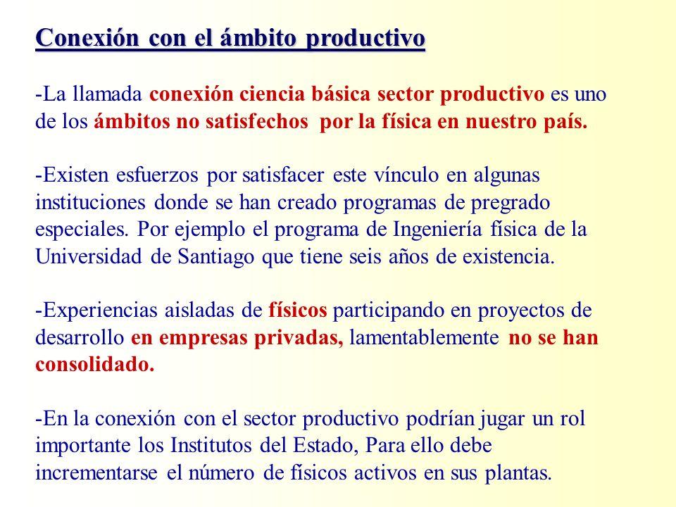 Conexión con el ámbito productivo -La llamada conexión ciencia básica sector productivo es uno de los ámbitos no satisfechos por la física en nuestro país.