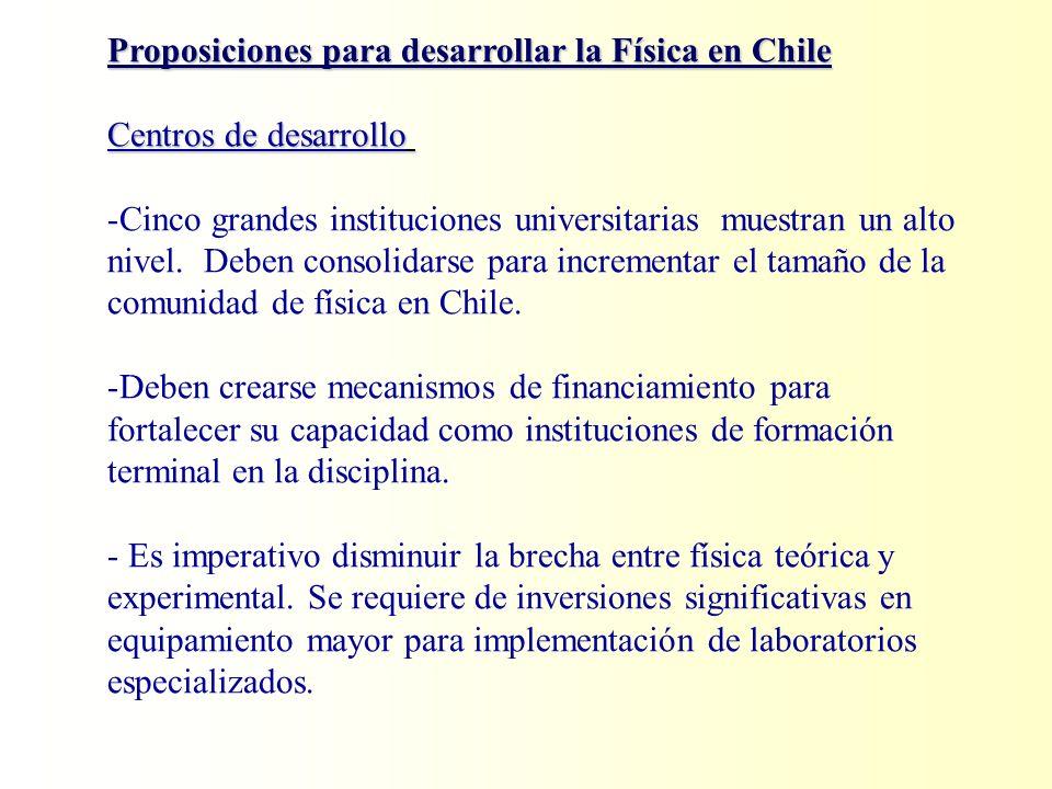 Proposiciones para desarrollar la Física en Chile Centros de desarrollo Centros de desarrollo -Cinco grandes instituciones universitarias muestran un alto nivel.