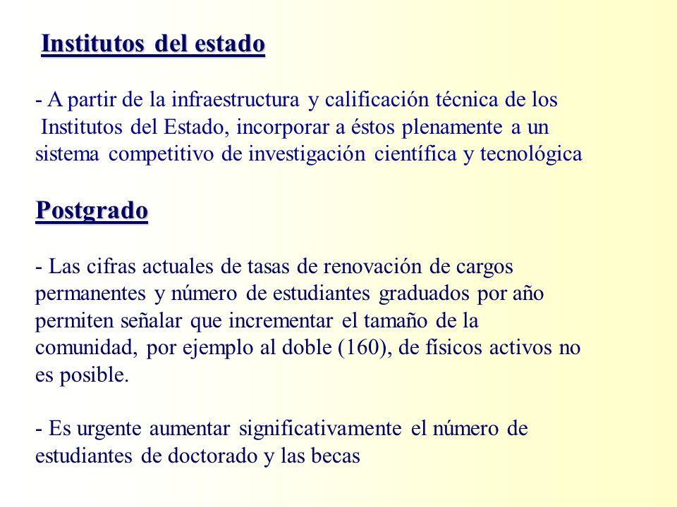 Institutos del estado - A partir de la infraestructura y calificación técnica de los Institutos del Estado, incorporar a éstos plenamente a un sistema