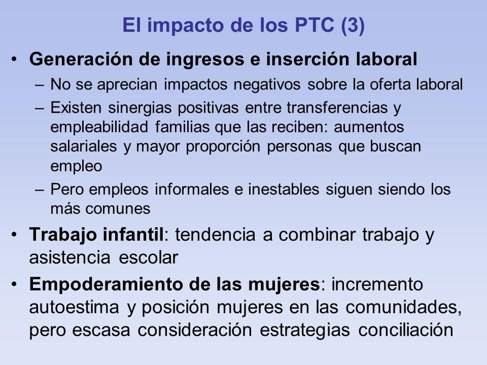 El impacto de los PTC (3) Generación de ingresos e inserción laboral –No se aprecian impactos negativos sobre la oferta laboral –Existen sinergias pos