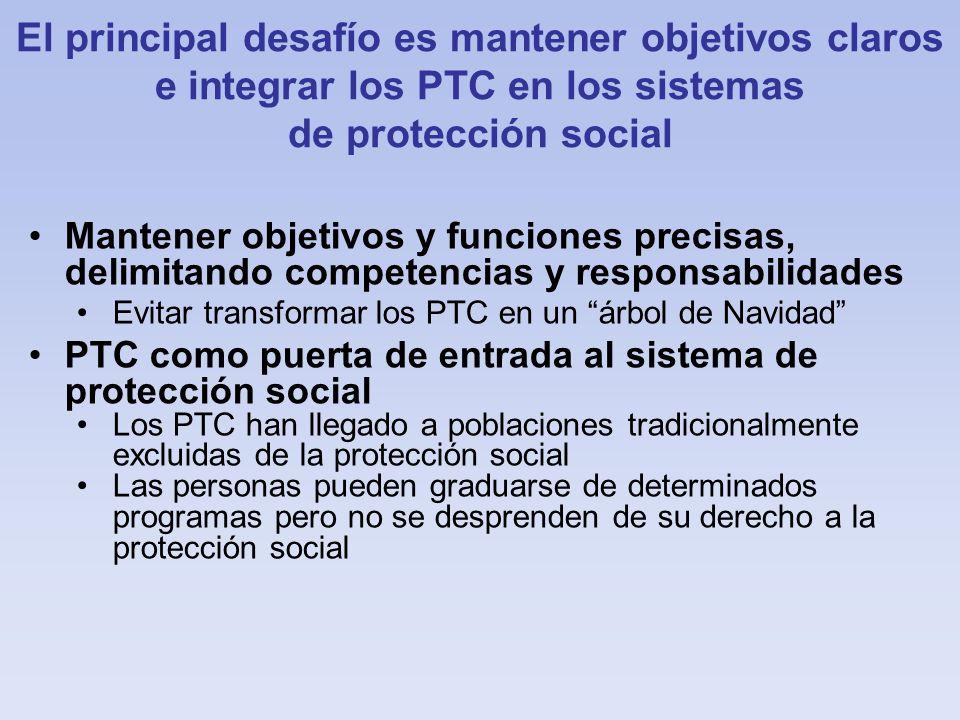 El principal desafío es mantener objetivos claros e integrar los PTC en los sistemas de protección social Mantener objetivos y funciones precisas, del
