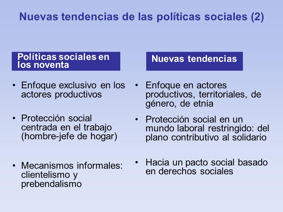 Enfoque exclusivo en los actores productivos Protección social centrada en el trabajo (hombre-jefe de hogar) Mecanismos informales: clientelismo y pre
