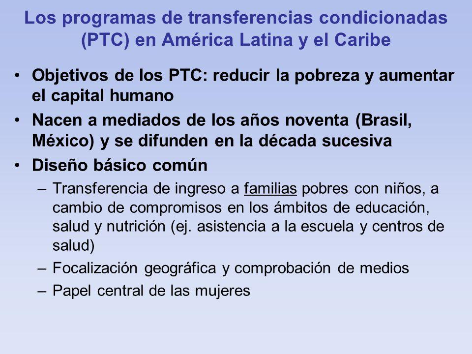 Los programas de transferencias condicionadas (PTC) en América Latina y el Caribe Objetivos de los PTC: reducir la pobreza y aumentar el capital human