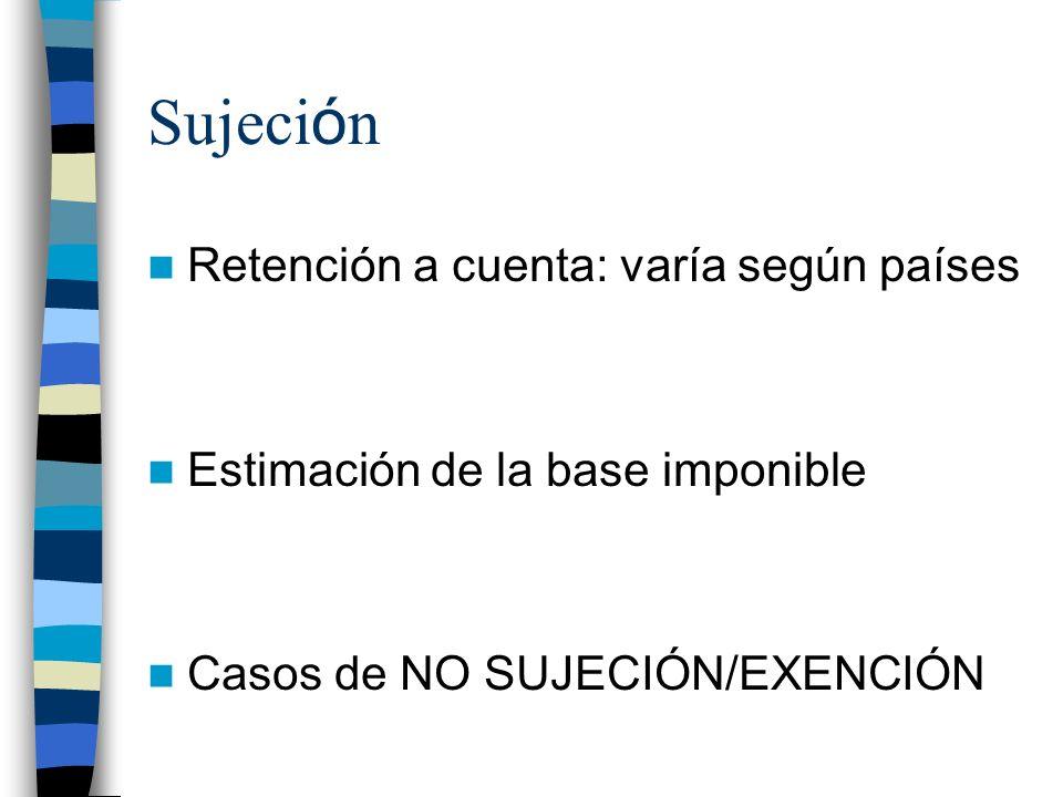 Sujeci ó n Retención a cuenta: varía según países Estimación de la base imponible Casos de NO SUJECIÓN/EXENCIÓN