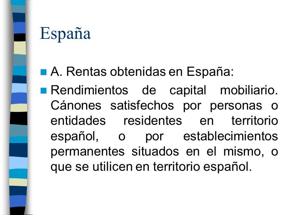 España A. Rentas obtenidas en España: Rendimientos de capital mobiliario.