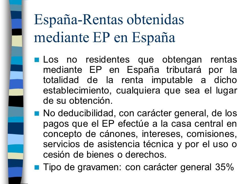 España-Rentas obtenidas mediante EP en España Los no residentes que obtengan rentas mediante EP en España tributará por la totalidad de la renta imputable a dicho establecimiento, cualquiera que sea el lugar de su obtención.