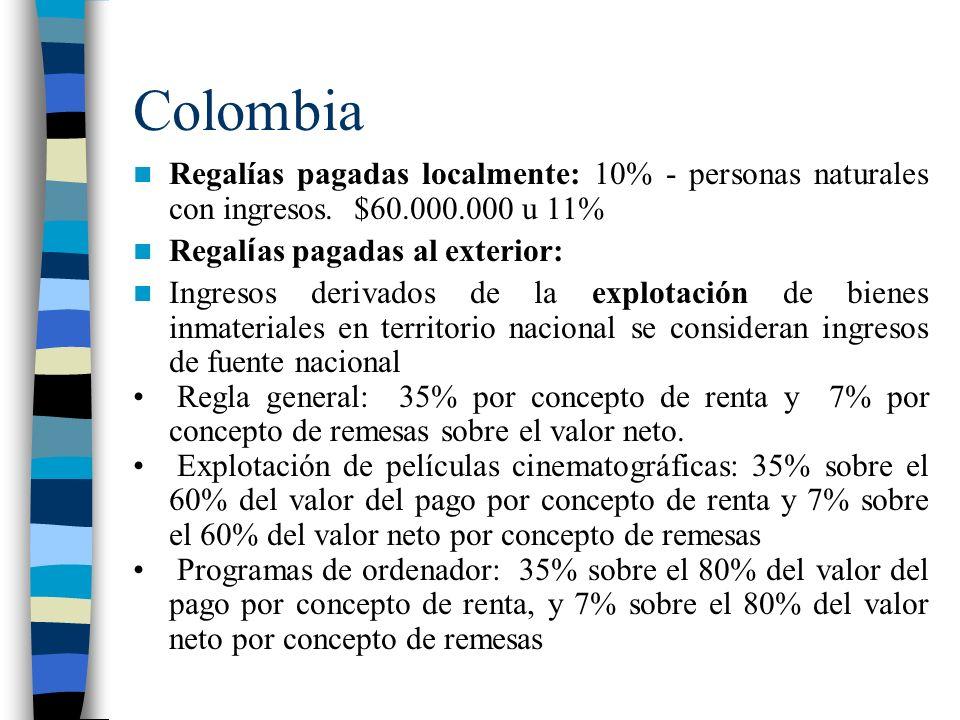 Colombia Regalías pagadas localmente: 10% - personas naturales con ingresos.