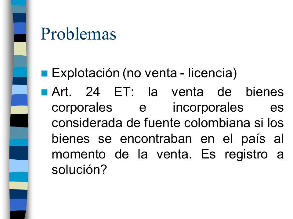 Problemas Explotación (no venta - licencia) Art.