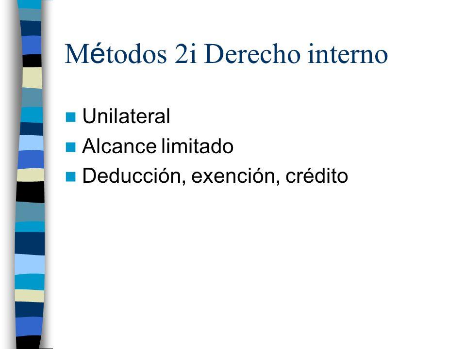 M é todos 2i Derecho interno Unilateral Alcance limitado Deducción, exención, crédito