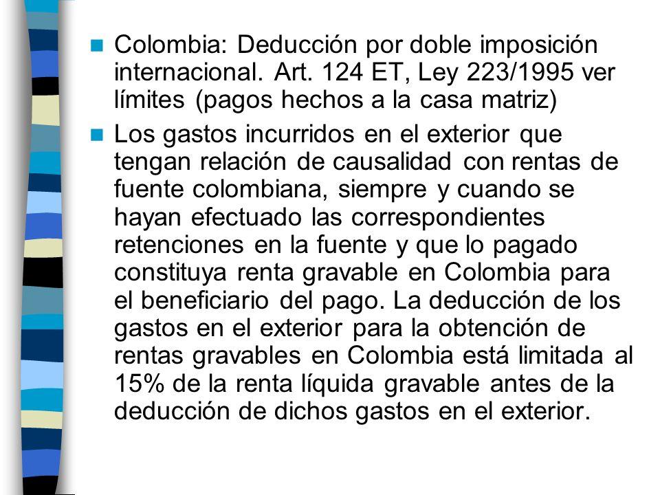 Colombia: Deducción por doble imposición internacional.