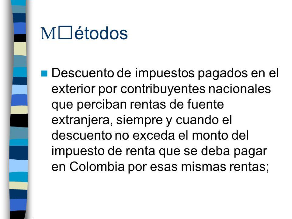 M étodos Descuento de impuestos pagados en el exterior por contribuyentes nacionales que perciban rentas de fuente extranjera, siempre y cuando el descuento no exceda el monto del impuesto de renta que se deba pagar en Colombia por esas mismas rentas;