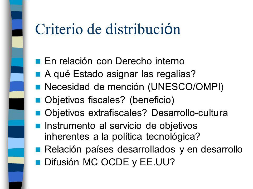 Criterio de distribuci ó n En relación con Derecho interno A qué Estado asignar las regalías.