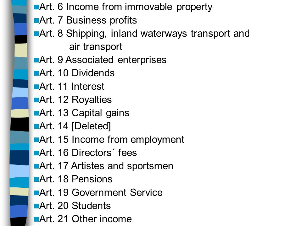 Art. 6 Income from immovable property Art. 7 Business profits Art.