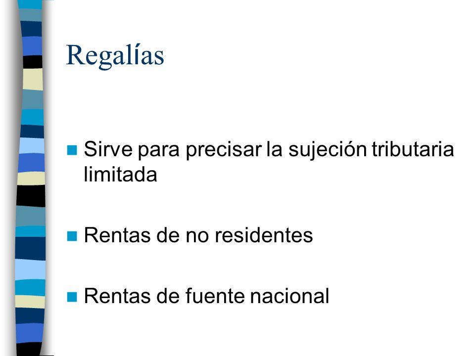 Regal í as Sirve para precisar la sujeción tributaria limitada Rentas de no residentes Rentas de fuente nacional