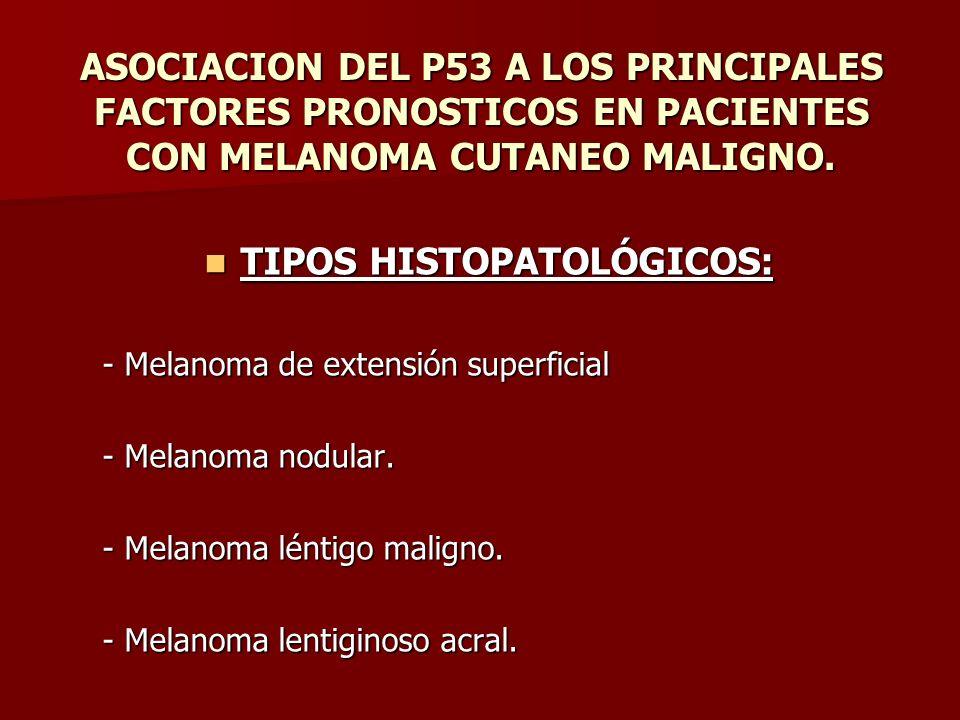 ASOCIACION DEL P53 A LOS PRINCIPALES FACTORES PRONOSTICOS EN PACIENTES CON MELANOMA CUTANEO MALIGNO. TIPOS HISTOPATOLÓGICOS: TIPOS HISTOPATOLÓGICOS: -