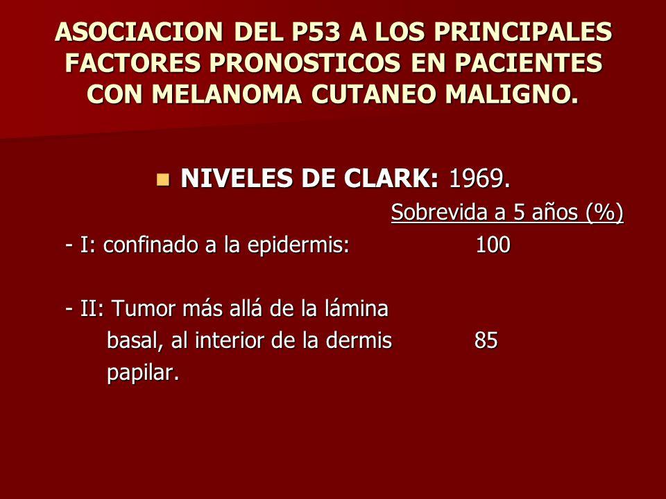 ASOCIACION DEL P53 A LOS PRINCIPALES FACTORES PRONOSTICOS EN PACIENTES CON MELANOMA CUTANEO MALIGNO. NIVELES DE CLARK: 1969. NIVELES DE CLARK: 1969. S