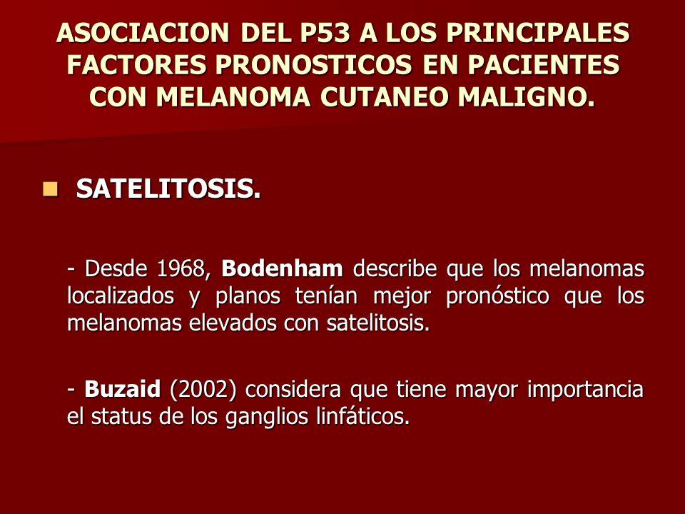 ASOCIACION DEL P53 A LOS PRINCIPALES FACTORES PRONOSTICOS EN PACIENTES CON MELANOMA CUTANEO MALIGNO. SATELITOSIS. SATELITOSIS. - Desde 1968, Bodenham