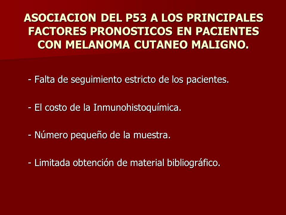 ASOCIACION DEL P53 A LOS PRINCIPALES FACTORES PRONOSTICOS EN PACIENTES CON MELANOMA CUTANEO MALIGNO. - Falta de seguimiento estricto de los pacientes.
