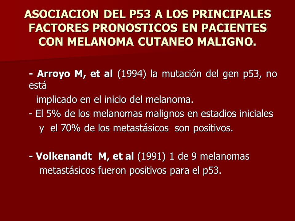 ASOCIACION DEL P53 A LOS PRINCIPALES FACTORES PRONOSTICOS EN PACIENTES CON MELANOMA CUTANEO MALIGNO. - Arroyo M, et al (1994) la mutación del gen p53,
