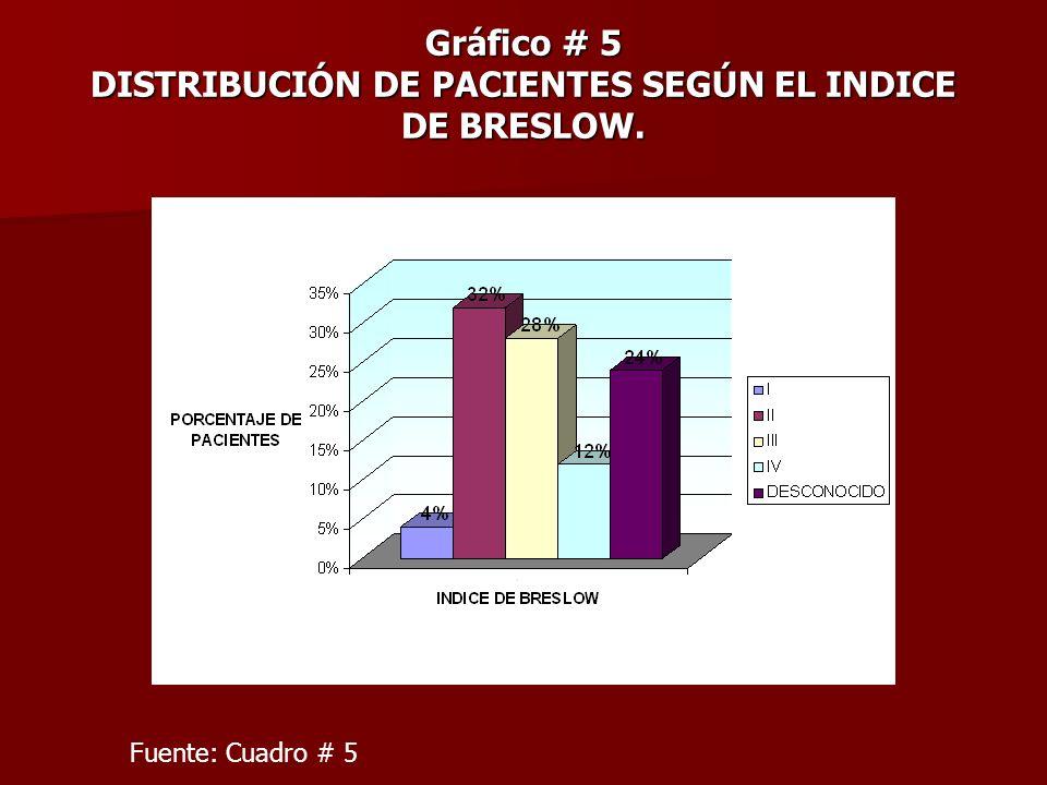 Gráfico # 5 DISTRIBUCIÓN DE PACIENTES SEGÚN EL INDICE DE BRESLOW. Fuente: Cuadro # 5