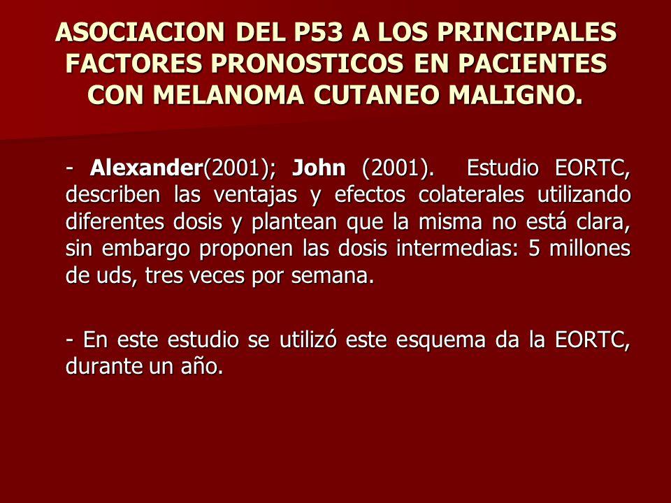 ASOCIACION DEL P53 A LOS PRINCIPALES FACTORES PRONOSTICOS EN PACIENTES CON MELANOMA CUTANEO MALIGNO. - Alexander(2001); John (2001). Estudio EORTC, de