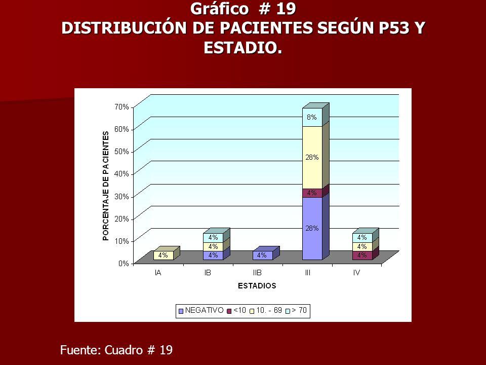 Gráfico # 19 DISTRIBUCIÓN DE PACIENTES SEGÚN P53 Y ESTADIO. Fuente: Cuadro # 19