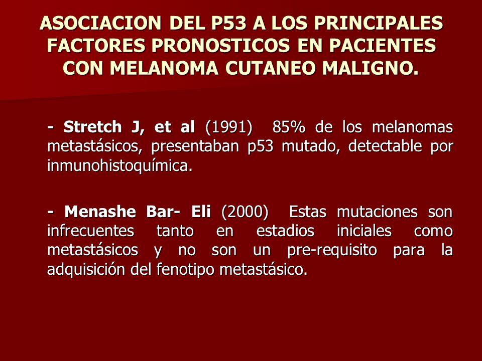 ASOCIACION DEL P53 A LOS PRINCIPALES FACTORES PRONOSTICOS EN PACIENTES CON MELANOMA CUTANEO MALIGNO. - Stretch J, et al (1991) 85% de los melanomas me