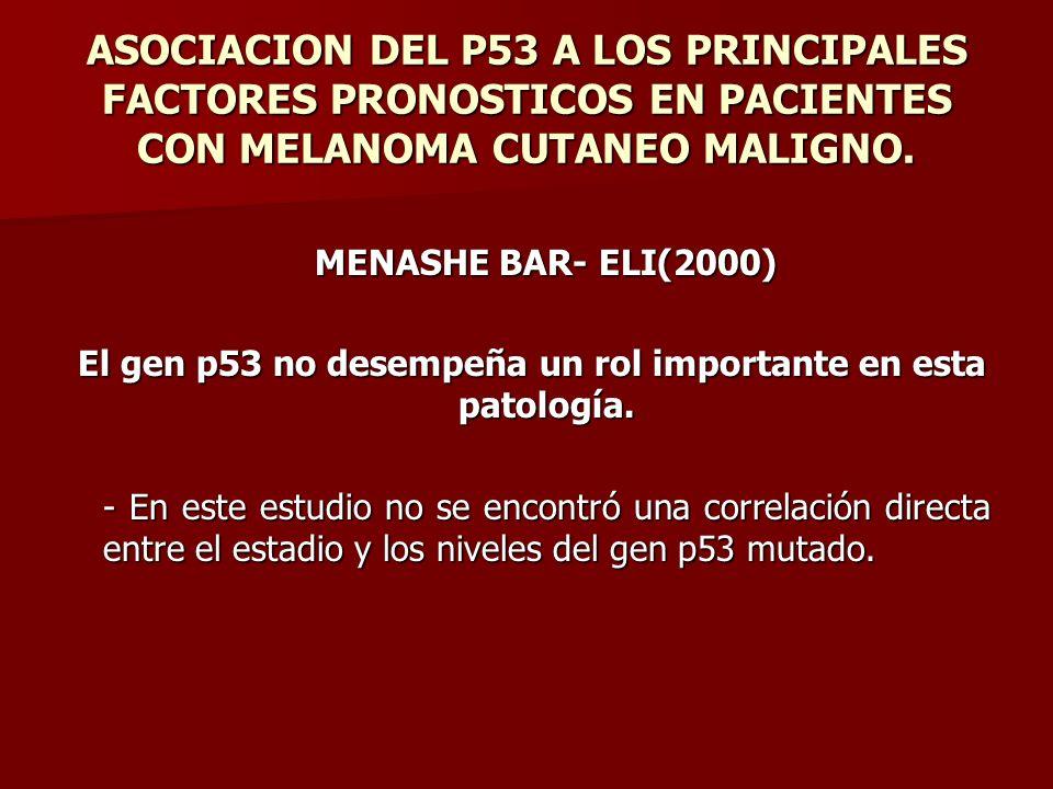 ASOCIACION DEL P53 A LOS PRINCIPALES FACTORES PRONOSTICOS EN PACIENTES CON MELANOMA CUTANEO MALIGNO. MENASHE BAR- ELI(2000) El gen p53 no desempeña un